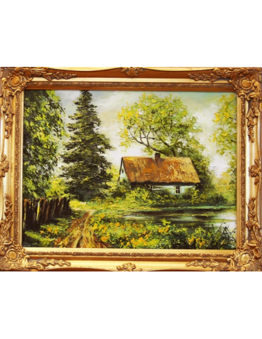 Obraz - Domček pri jazierku