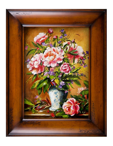 Obraz - Zdobená kytica ružových pivónií