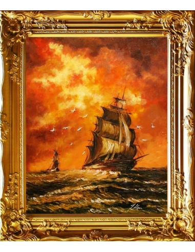 Obraz - Zapálená obloha nad plachetnicou