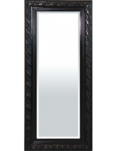 Zrkadlo s čiernym zdobeným rámom