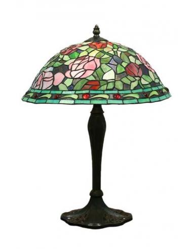 Stolná lampa s vitrážou L56990