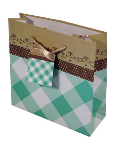 Papierová taška so zelenými štvorcami