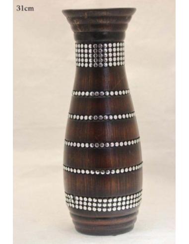 Hnedá váza s kovovými bodkami V80572
