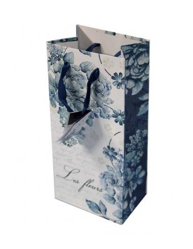 Papierová taška s modrými kvetmi malá
